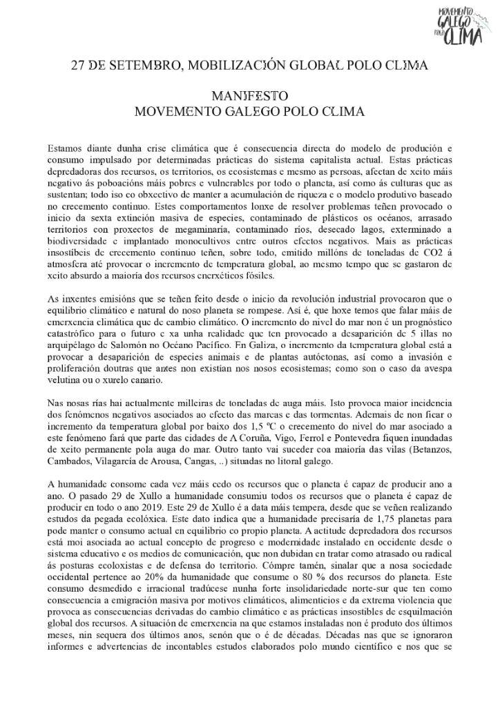 Manifesto do Movemento Galego polo Clima